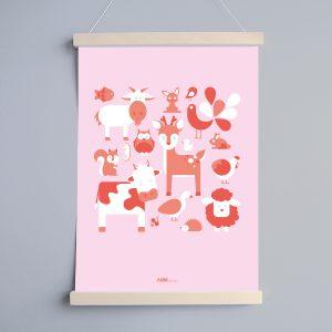 Poster Dertjes Kinderkamer in de kleur roze ANNIdesign