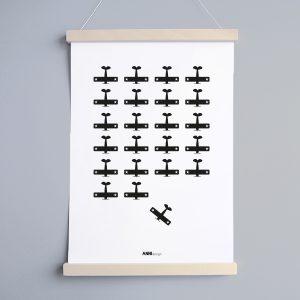 Poster Vliegtuigen voor babykamer en kinderkamer in kleur zwart ANNIdesign