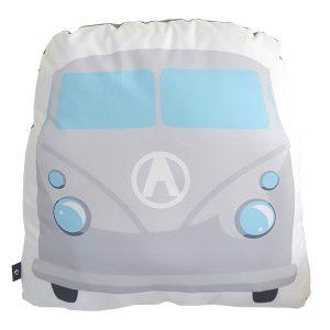 Kussen Bus grijs_ANNIdesign_voorkant_40x40cm