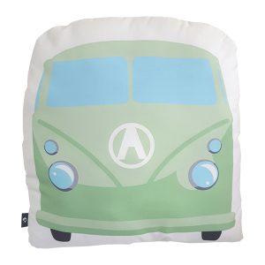 Kussen Bus groen_ANNIdesign_voorkant_40x40cm