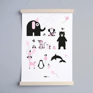 Poster Kinderkamer Feestbeesten in roze