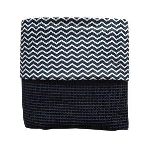 Ledikant deken_zigzag zwart_wafelstof zwart