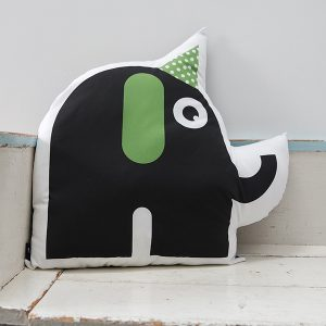 Kussen Kinderkamer Feestbeest Olifant in de kleur groen ANNIdesign