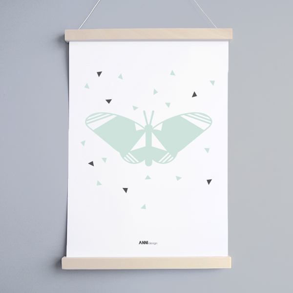 Poster Vlinder Kinderkamer in de kleur mint in A3 en A4| ANNIdesign
