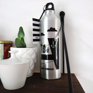 Drinkfles Rotterdam aluminium met karabijnhaak ANNIdesign