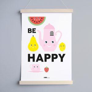 Poster Kinderkamer Be Happy met fruit ANNIdesign