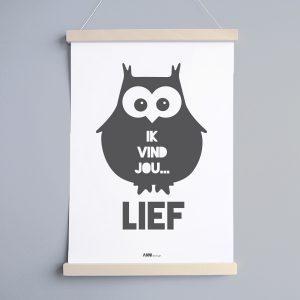 Poster Babykamer Uil in grijs ANNIdesign