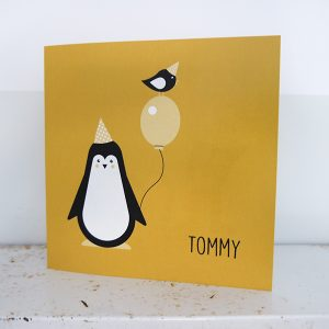 Geboortekaart Pinguin oker ANNIdesign voorkant