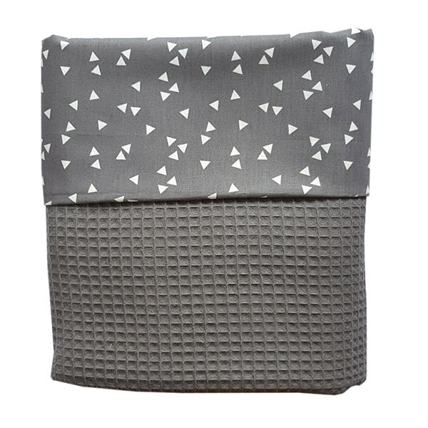 Ledikant deken wafelstof babykamer triangel grijs annidesign for Ledikant grijs