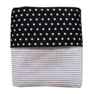 Ledikant deken Witte ster op zwart met Wafelstof helderwit ANNIdesign
