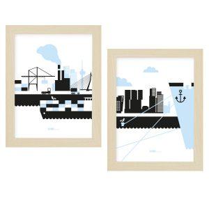 Poster swt Rotterdam blauw 15 x 20 ANNIdesign