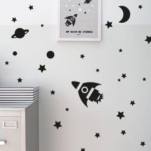 Muursticker set Raket voor Kinderkamer ANNIdesign