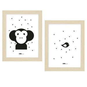 Poster set Apenkop mono Kinderkamer 15 x 20 ANNIdesign