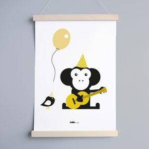 Poster Aap Feestbeesten oker Babykamer ANNIdesign