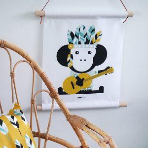 Textielposter Indiaan Aap oker ANNIdesign sfeer
