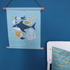 Textielposter Onderwater blauw ANNIdesign 01
