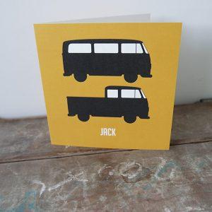 Geboortekaart Bussen oker ANNIdesign voorkant