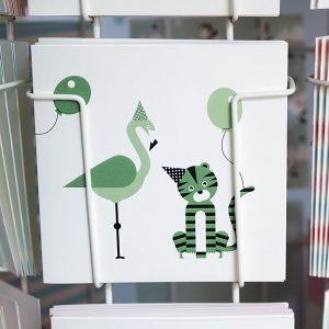 Wenskaart Feestbeesten Tijger en Flamingo groen ANNIdesign voorkant