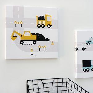 Canvas schilderij Voertuigen Graafmachine oker ANNIdesign 01