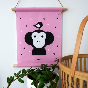 Textielposter Apenkop roze 30x40 ANNIdesign 01