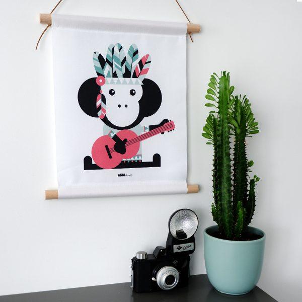 Textielposter Indiaan Aap roze 30x40 ANNIdesign 01