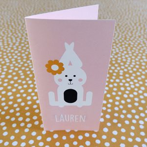 Geboortekaart Konijn oud roze langwerpig ANNIdesign voorkant