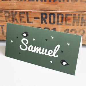 Geboortekaart Naam met Voge olijf groen ANNIdesign_voorkant