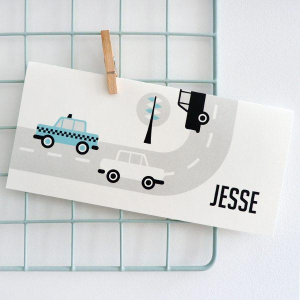 Geboortekaart Auto blauw ANNIdesign_voorkant