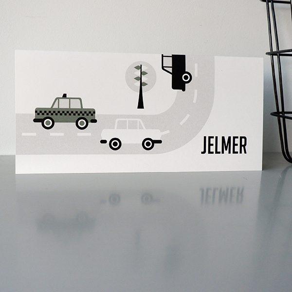Geboortekaart Auto olijf groen ANNIdesign_voorkant