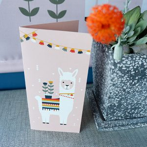 Geboortekaart Lama roze ANNIdesign voorkant