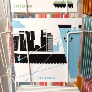 Wenskaart Rotterdam blauw ANNIdesign 01