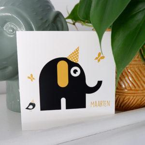 Geboortekaart Feestbeest Olifant oker geel ANNIdesign 01