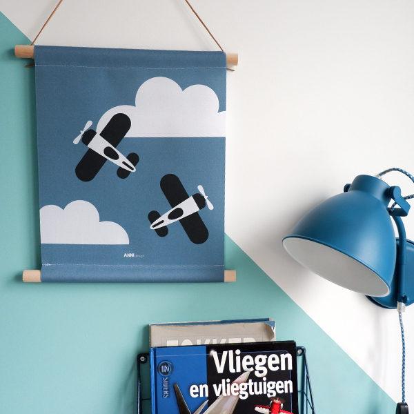 Textieposter Vlieguitgen en Wolken jeans blauw ANNIdesign